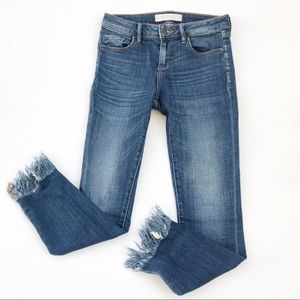 Raw Hem Frayed Blue Jeans Denim HIDDEN 26 Skinny